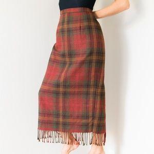 Vintage 80s High Waisted Midi Maxi Fringe Skirt S